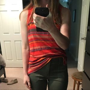 Small Red Evereve Striped Tank Top